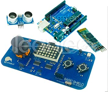 Kit Arduino + Kiwibot Basic Shield + HC-SR04 + HC-06. Robotica
