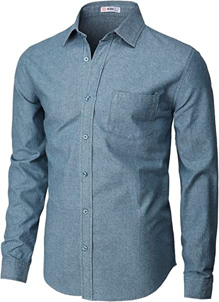 H2H Mens Casual Button-Down Shirts Oxford Long Sleeve Basic Designed of Various Styles