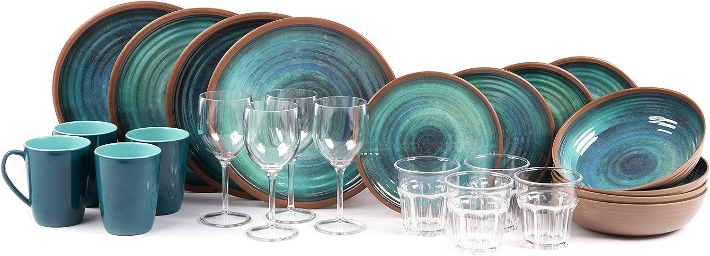 Sesua KAMPA Melamin-Set Campinggeschirr Java 24 Teile incl.4X Wein+4X Wasserglas