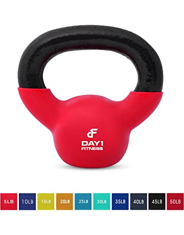 3530b70471 Kettlebell Weights Vinyl Coated Iron by Day 1 Fitness- 10 Sizes Available