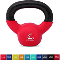 Kettlebell Weights Vinyl Coated Iron by Day 1 Fitness- 10 Sizes Available, 5-50 Pounds - Coated For Floor and Equipment Protection, Noise Reduction - Free Weights For Ballistic, Core, Weight Training