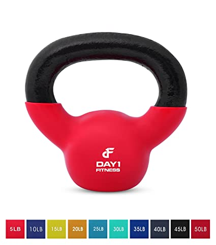Kettlebell Weights Vinyl Coated Iron by Day 1 Fitness- 10 Sizes Available,  5-50 Pounds - Coated For Floor and Equipment Protection, Noise Reduction -