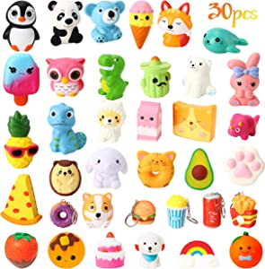 WATINC 25Pcs Jumbo Squeeze Toy and 5Pcs Mini Food Squeeze Cream Scented Panda Donuts Bunny Squeeze Toys for Kids Home Décor Toy Gift, Kawaii Squeezable Slow Rising Stress Relief,Goodie Bag Egg Filler