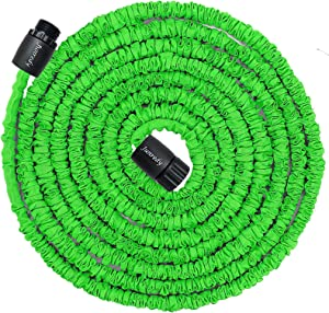 Junredy 25ft Water Hose,8.3ft Before Water Injection,Expandable Garden Hose, Flexible Expanding Pressure Water Hose, 3-Layers Latex Core, Extra Strength Fabric,for Watering Needs (Green)