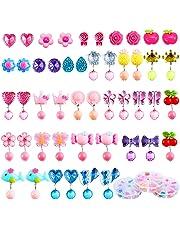 Aneco 24 Paar Clip-on Kristall Ohrringe Mädchen Spielen Ohrringe Prinzessin Clip auf Ohrringe Set für Party Gefallen Verpackt in 3 klaren Boxen mit Verschiedenen Stilen
