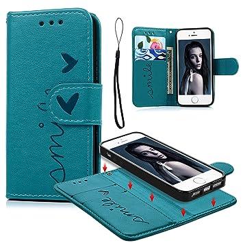 Geniric iPhone 5/iPhone SE Funda, iPhone 5S Carcasa Libro de Cuero Impresión de Amor PU Premium y TPU Funda Interna (2 en 1, Separable), Soporte ...