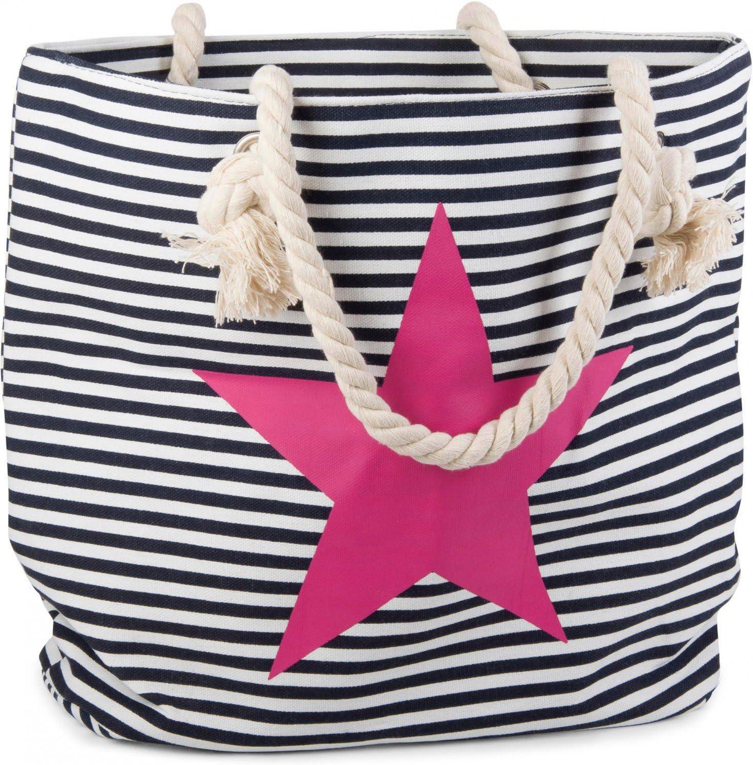 Schultertasche Damen 02012037 styleBREAKER Strandtasche in Streifen Optik mit Stern Shopper Farbe:Blau-Wei/ß//Gold