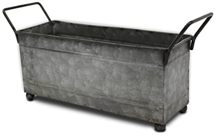 Metal Storage Bin, Small With Handles, (Galvanized, Decorative, Perfect  Napkin Holder