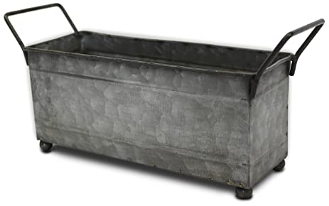 Lovely Metal Storage Bin, Small With Handles, (Galvanized, Decorative, Perfect  Napkin Holder