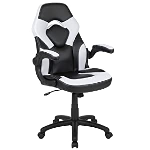Flash Furniture X10 Gaming Chair Racing Office Ergonomic Computer PC Adjustable Swivel Chair with Flip-up Arms, White/Black LeatherSoft
