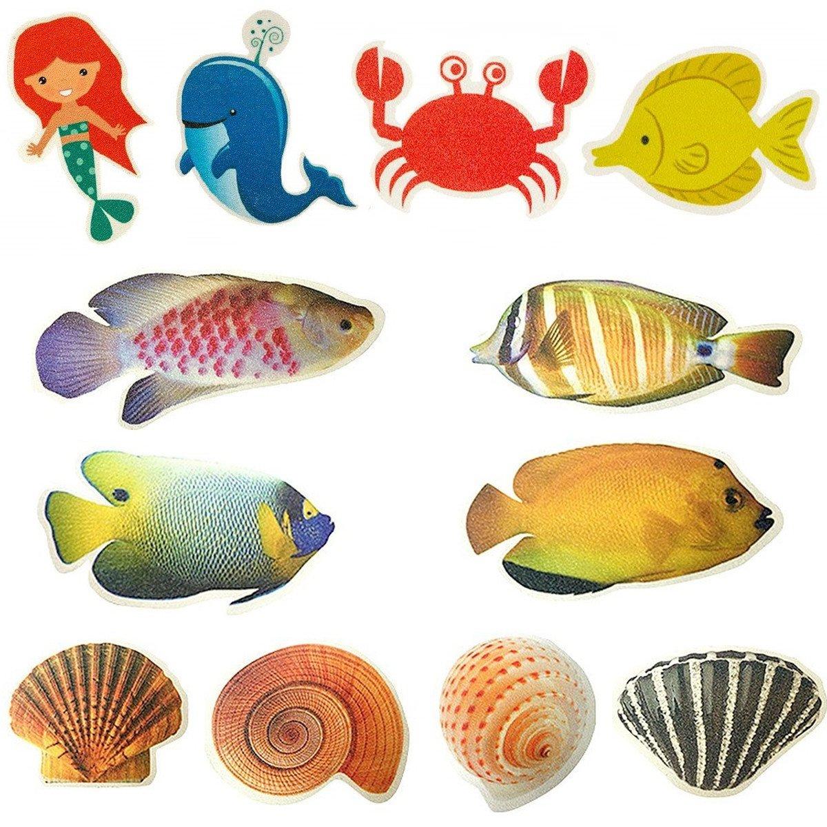 SINDBIN 12 PCS Non-Slip Bathtub Stickers, Sea Creature Seashell Fish Adhesive Bath Treads Anti-Slip Applique for Bath Tubs and Showers