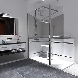 Souurcia - Mampara de ducha fija con soporte giratorio - Walk In - Cristal de seguridad de 8 mm - Transparente - Revestimiento nano antical - Barra de fijación ajustable - Montaje en italiano: Amazon.es: Bricolaje y herramientas