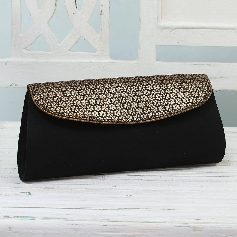 NOVICA Black Evening Clutch bag Midnight Zeal