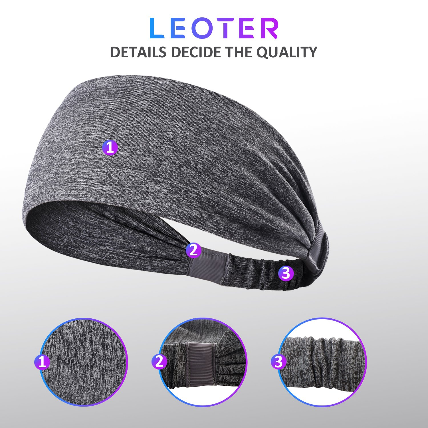 6 Pieces Sport Headband Yoga/Cycling/Running /Fitness ExerciseHairband Elastic Sweatband for Unisex by Leoter (Image #3)