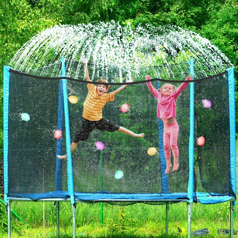 Money2U Trampoline Sprinkler for Kids Outdoor Trampoline Sprinkler Waterpark Fun Summer Outdoor Water Games Yard Toys Sprinklers Backyard Water Park for Boys Girls 39 ft