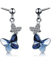 T400 Blue Purple Pink Butterfly Crystal Lever Back Stud Drop Earrings Graduation Gift for Women Girls