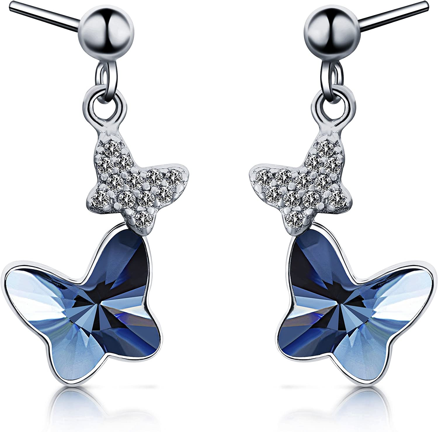 Girls Butterfly Ear Studs 925 Sterling Silver Nb Of Crystal Stones 2