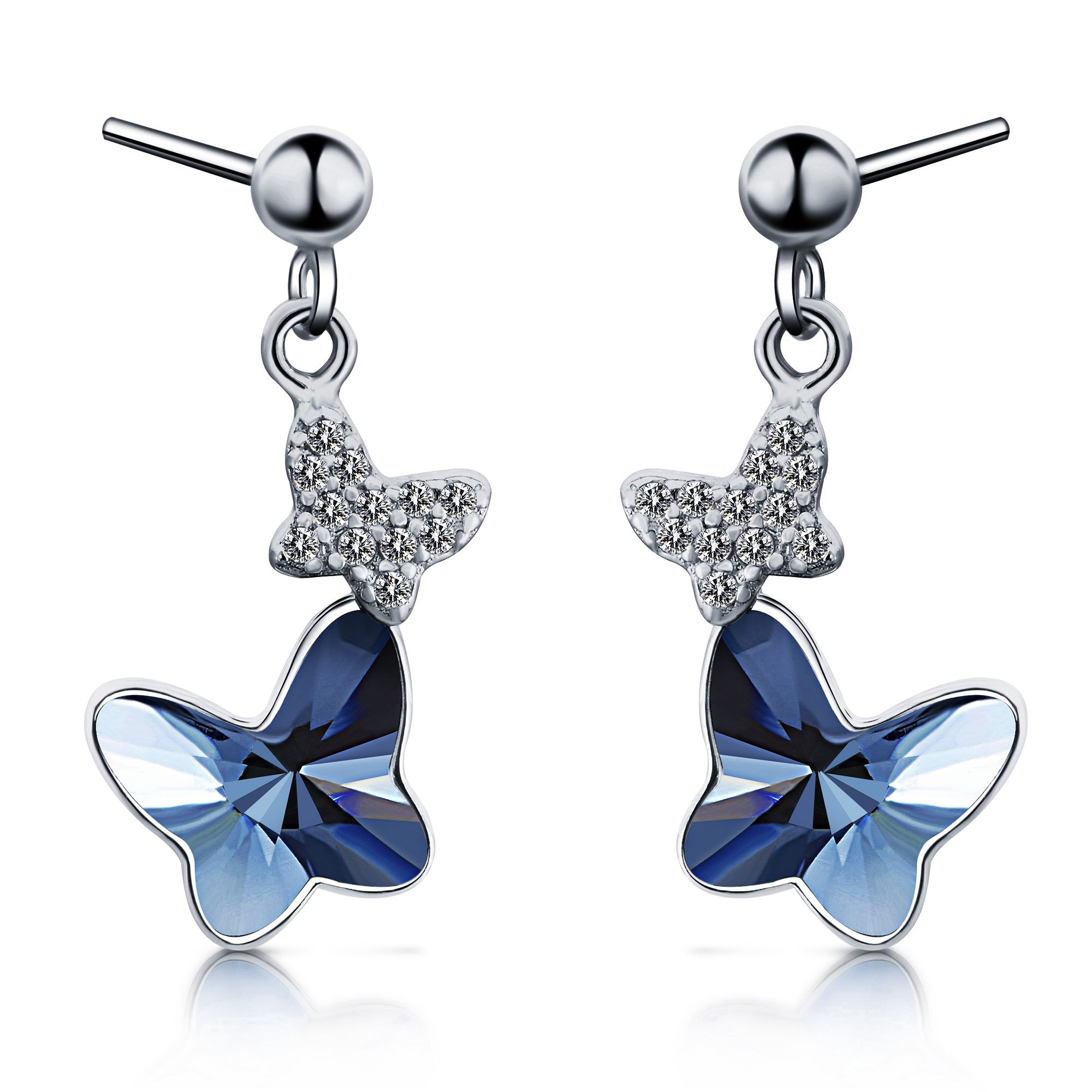 Sterling Silver Blue Butterfly Earrings, T400 Drop Stud Earrings Made with Swarovski Element Crystals Gift