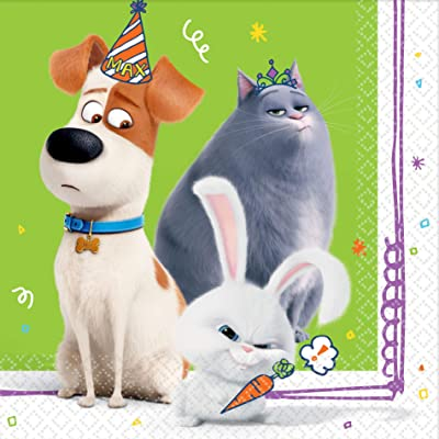 """The Secret Life Of Pets 2"" Green Luncheon Party Napkins, 6.5"" x 6.5"", 16 Ct.: Toys & Games"