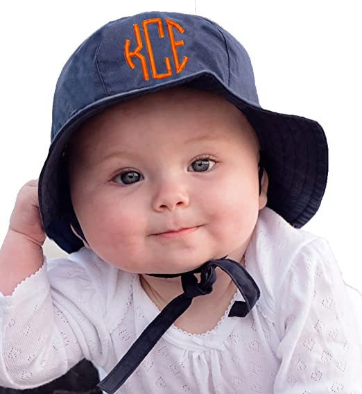 Melondipity Baby Hats Navy Blue Monogrammed Sun Hat for Baby and Toddler  Boy (2- 49ff11c6f00