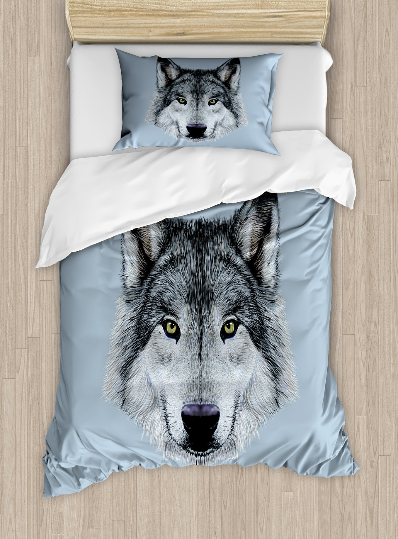 Ambesonne Wolf Duvet Cover Set Twin Size, Wolf Portrait with Beautiful Gaze Sublime Animal Illustration Canine Beast, Decorative 2 Piece Bedding Set with 1 Pillow Sham, Black Beige Bluegrey by Ambesonne