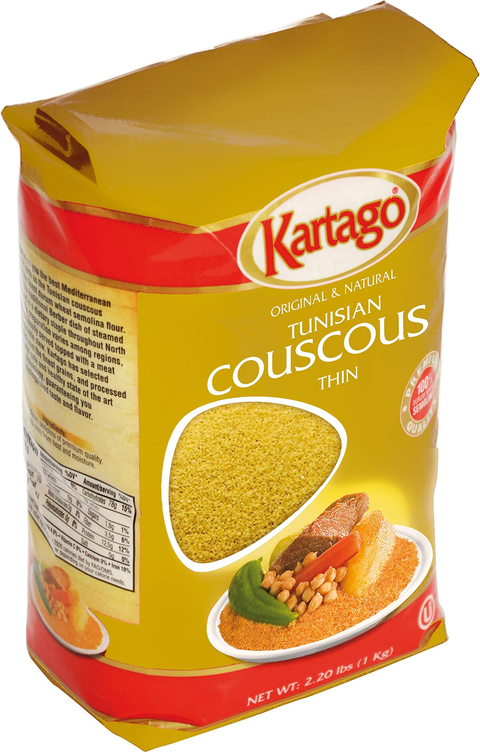 Authentic Tunisian Couscous - Thin Grain - 1-Kg Bag, Pack of 2 by Kartago