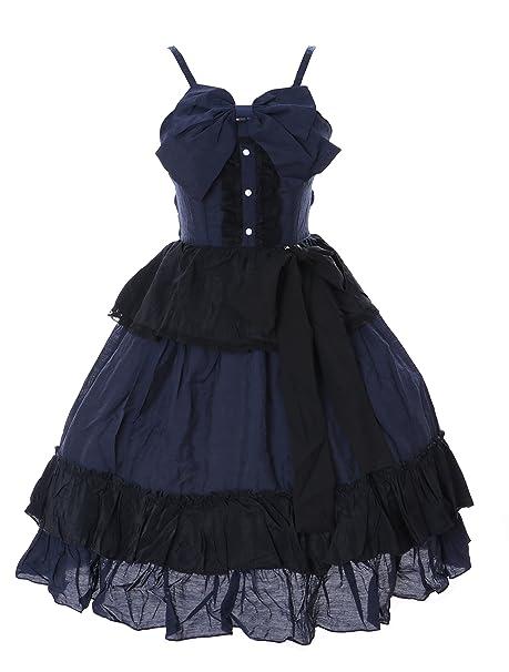 Kawaii-Story JL de 651 Azul Negro volantes vestido Victorian Rococo Stretch Gothic Lolita Disfraz