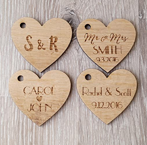 amazon com wedding favor tags personalized wooden tags heart tags