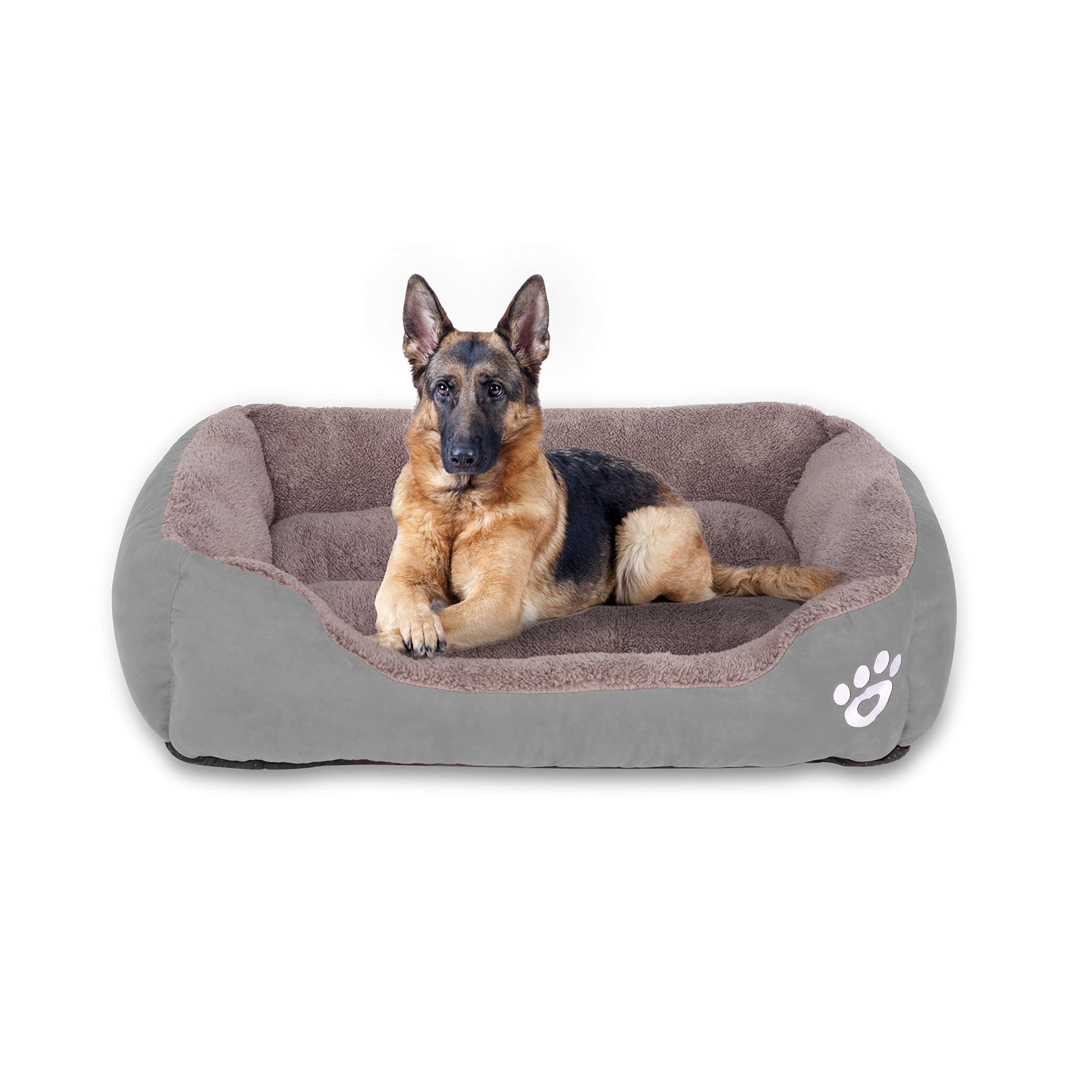 FRISTONE Dog Beds for Medium Dogs 32'' X 24'' Deluxe Washable Pet Beds Medium Plush Crate Rectangle Lounge Sofa Mattress Soft Rised Rims Firm Head Rest Pillows for Small Puppy Cats Sleeping(Grey)