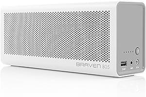 BRAVEN 805 Portable Wireless Bluetooth Speaker [18 Hours Playtime] Built-in 4400 mAh Power Bank Charger - White/Light Gray