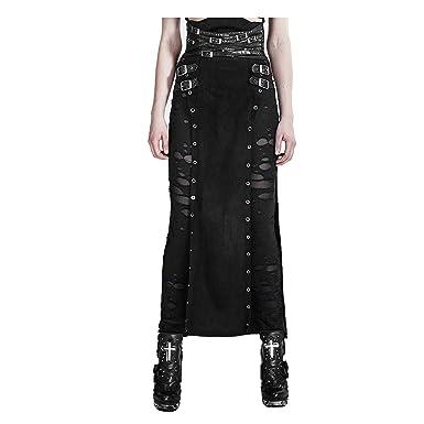 Punk Rave Women s Black Gothic Punk Vintage Retro Split Party PU Leather  Long Skirt (M 426f4f002