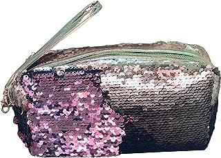 iSpchen Paillettes Trousse de Maquillage Stylo Trousse de Maquillage Sac de Rangement Porte-Stylo Pochette Laser pour Papeterie Cosmétique Vert + Noir CK000065G+B