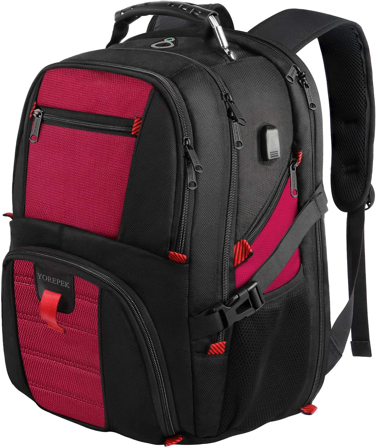 Extra Large Backpack,18.4 Laptop Backpack with USB Port,Travel Backpack for Women with Luggage Sleeve,TSA Friendly Big College Bag Business Computer Backpack Fit Most 18Inch Gaming Laptops,Red
