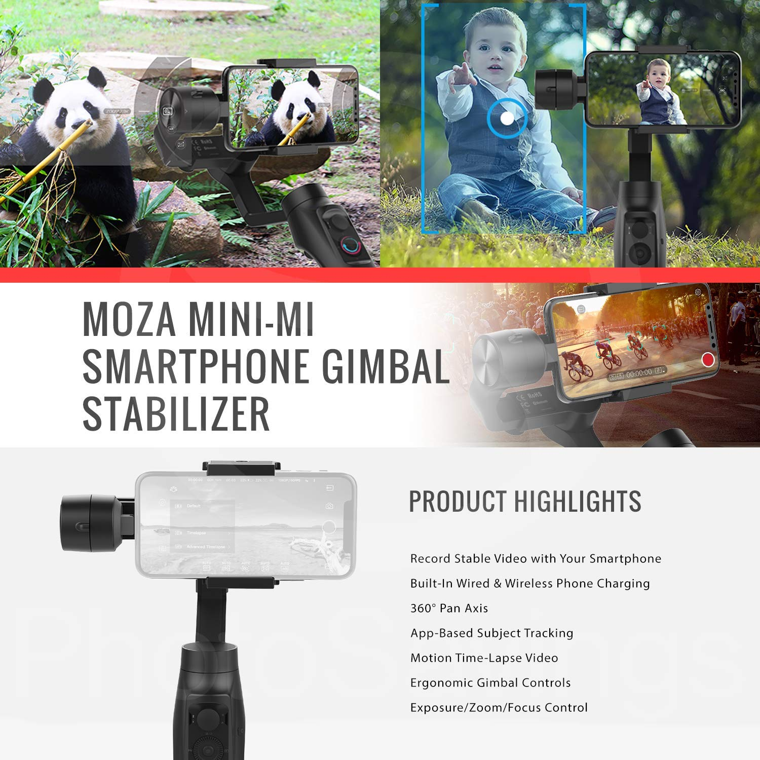 Moza Mini-MI 3-Axis Smartphone Gimbal Stabilizer with Lavalier Microphone Accessory Bundle by MOZA (Image #2)