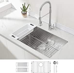 Modena Undermount Kitchen Sink Set, 16-Gauge Stainless Steel (32-Inch Single Bowl)