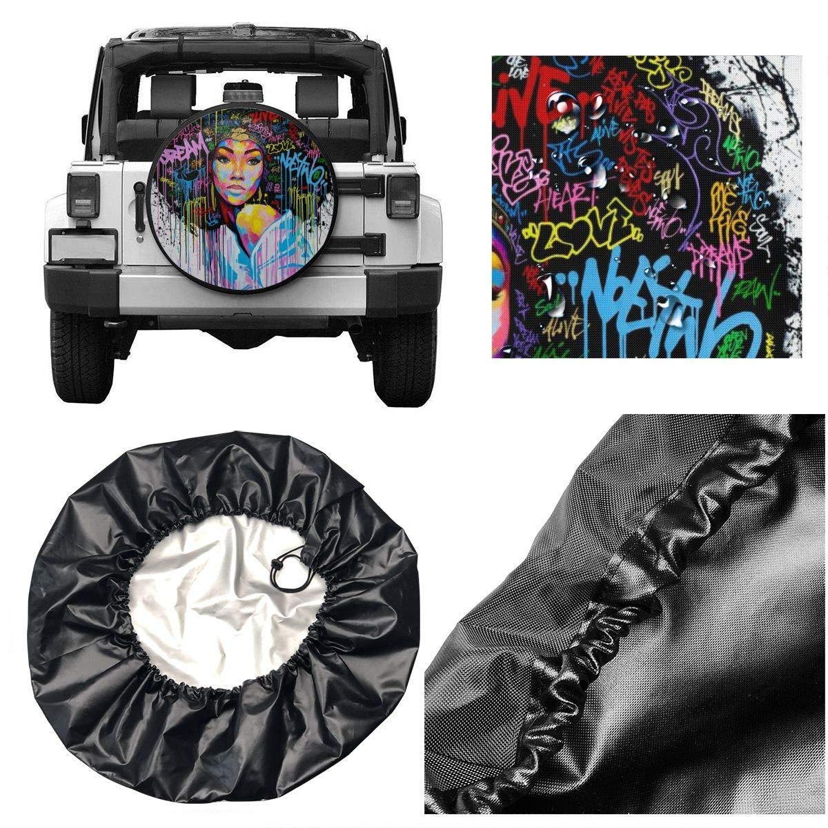 Vbnbvn Reserveradabdeckung Multicolor Pug Universal Fit Spare Tire Cover Waterproof Keeps Dirt Rain and Sun Away from Your Spare Tire