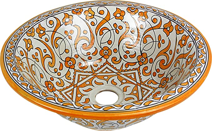 Rabat yellow Ceramic Hand painted Moroccan Bathroom Basin Painted inside out