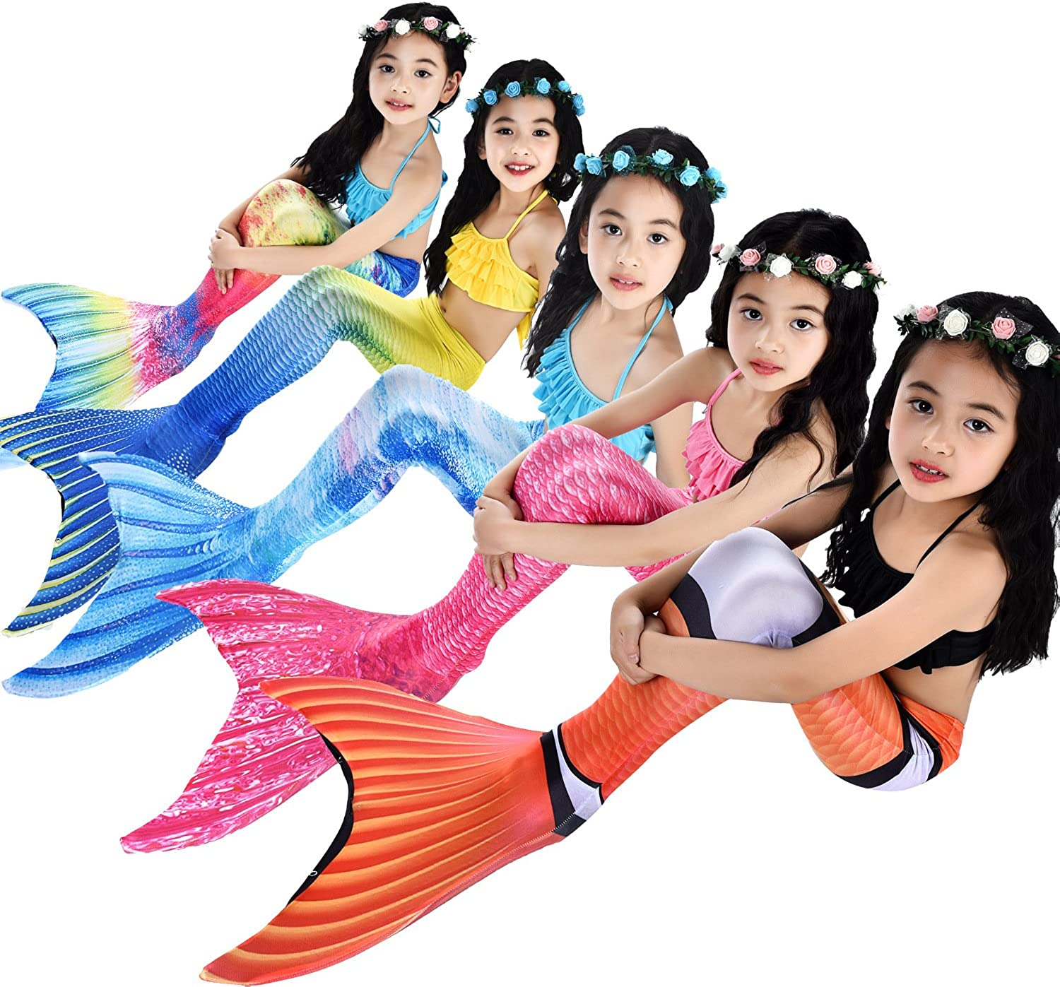 Panmeihua Girls Sparkle Mermaid Tail with Monofin Swimwear 4pcs Sets for Kids