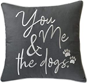 """DecorHouzz Pillowcases Embroidered Pet Lover Pillow Covers Gifts for Dog Lover, Cat Lover, Pet Decor, 18""""X18"""", Y M and Dogs(Grey)"""