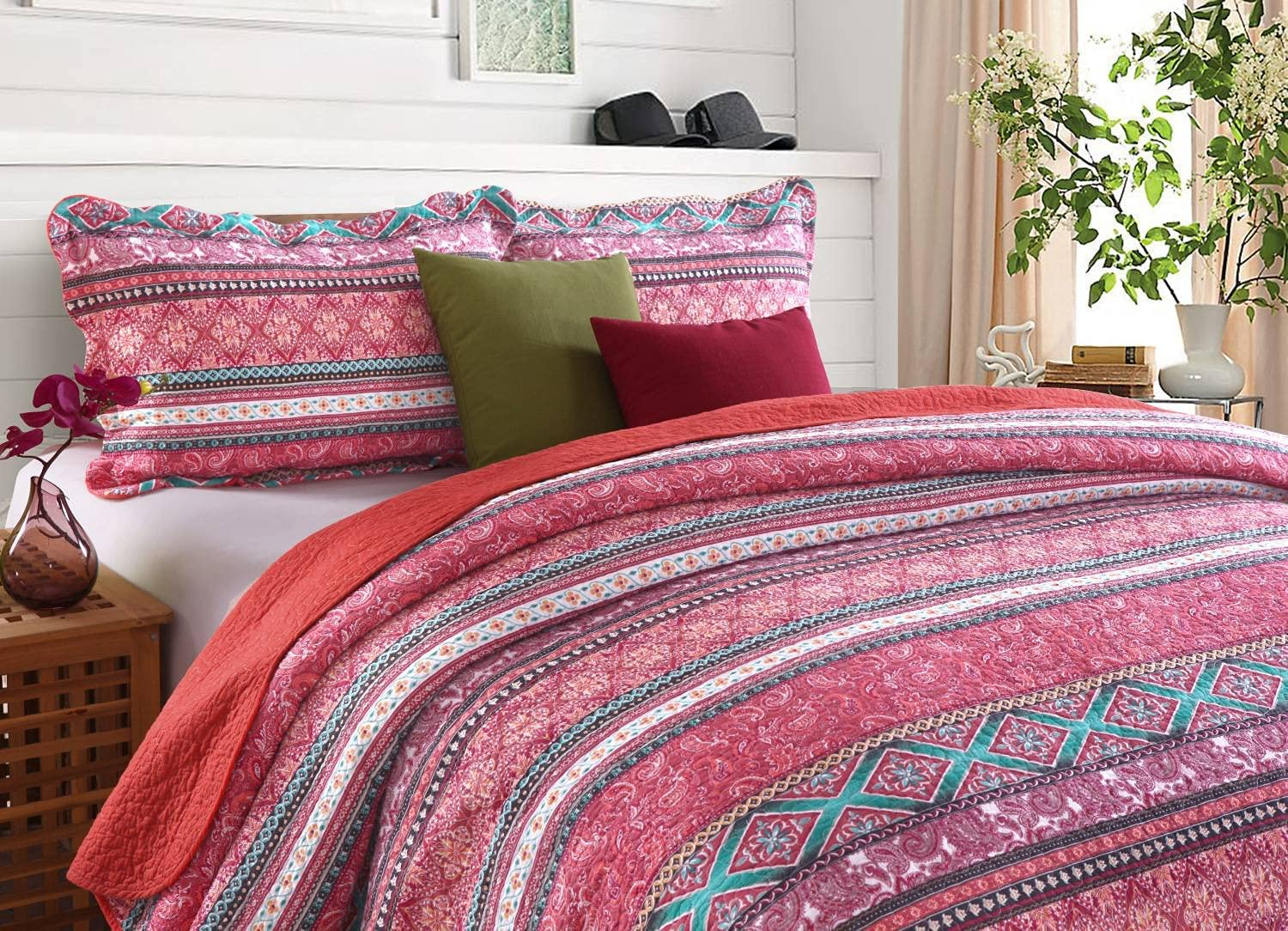 STACYPIK Bohemian Red Striped Quilt Set King Size 98x106inch,3 Piece Reversible All Season Bedspread Coverlet Set Bedding Set& Collection with Matching ,Cotton100%Floral Thick Bedspread Set