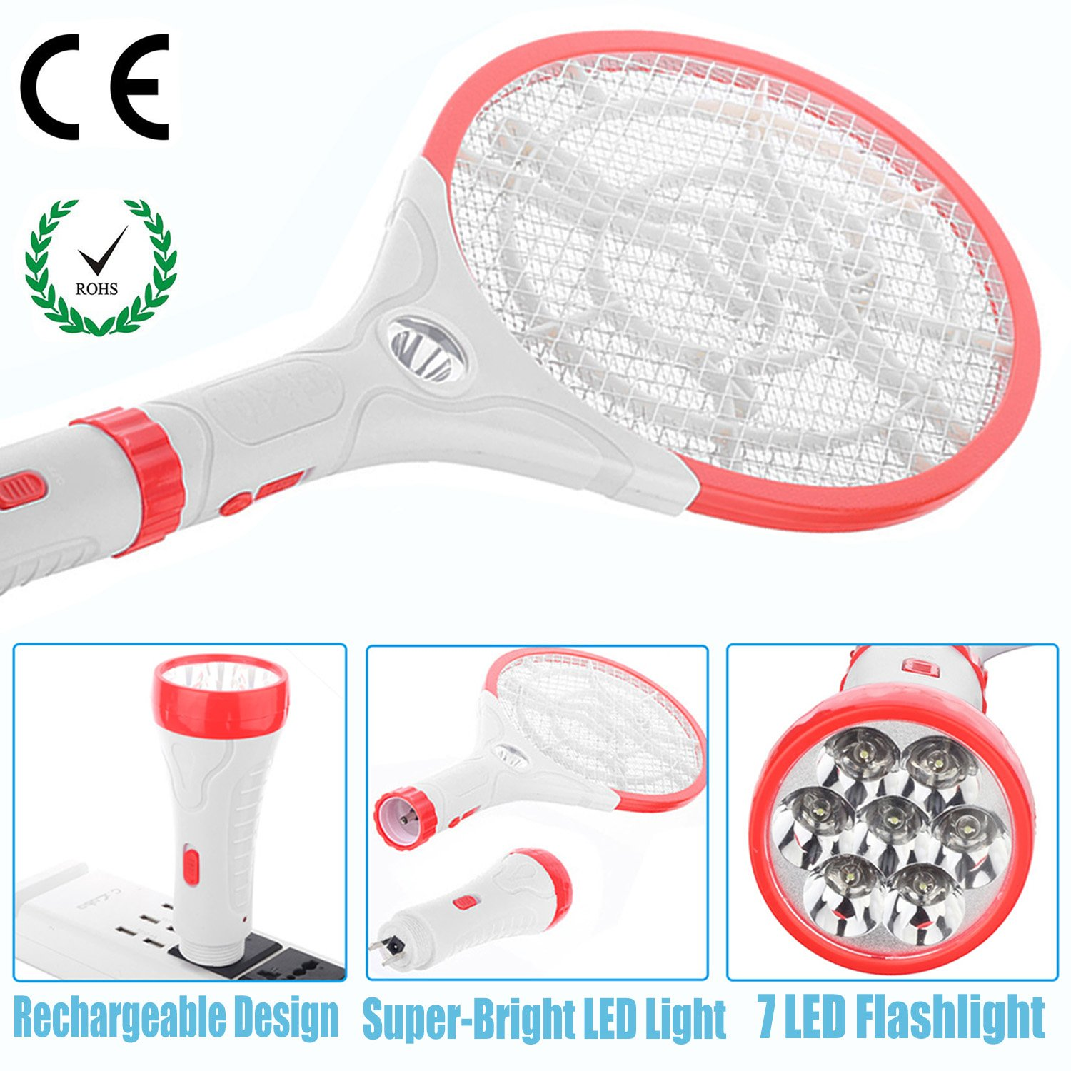 Fly Swatter Electric 3 In 1rechargeable Bug Zapper Mosquito Repellent Circuit Schematic Racket Led Flashlight Super Bright Light Zap The Dark Best Insect Killer