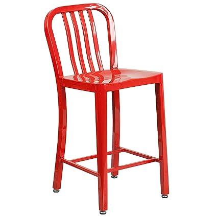 Flash Furniture 24u0027u0027 High Red Metal Indoor Outdoor Counter Height Stool  With Vertical