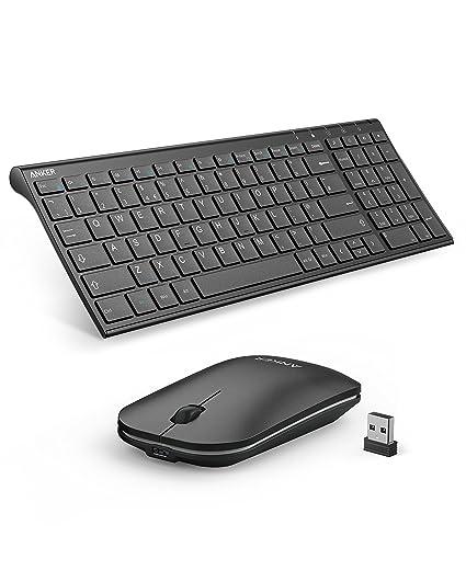 Anker 2,4 GHz Teclado inalámbrico y ratón Combo para Dispositivos Windows, diseño portátil