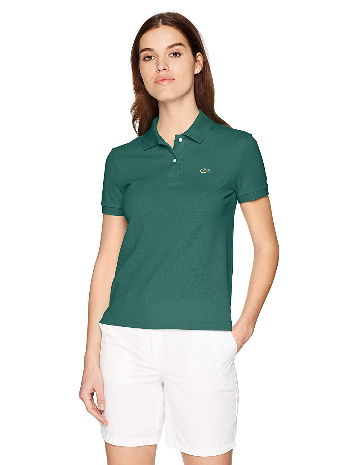 2295a3fd1f Lacoste Women s Classic Fit Short Sleeve Soft Cotton Petit Piqué Polo at  Amazon Women s Clothing store