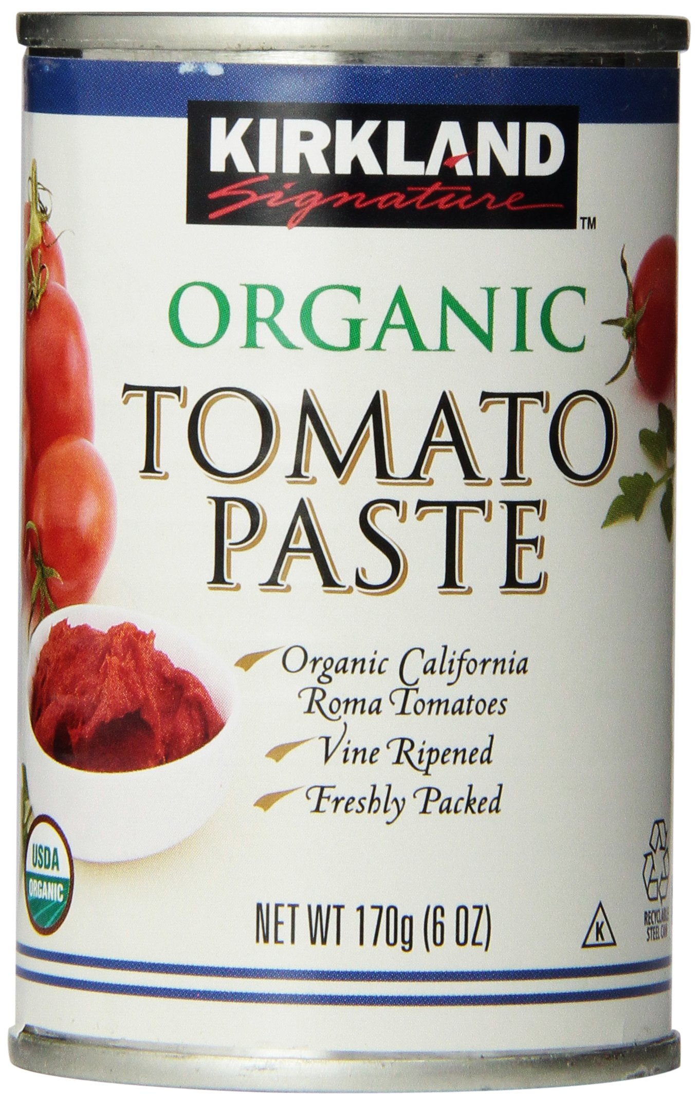 Kirkland Signature Organic Tomato Paste, 6oz cans, 12-Count