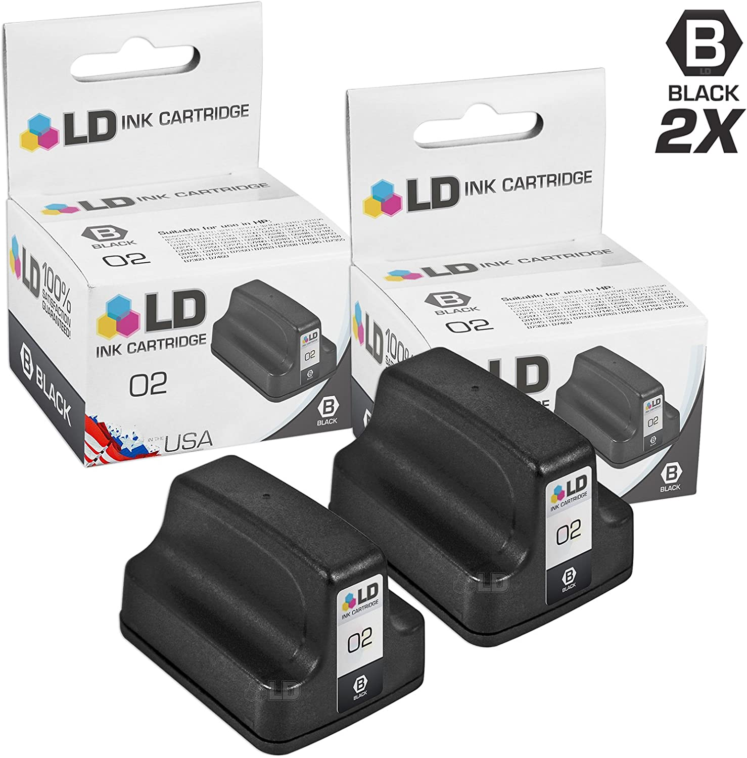 LD Remanufactured Ink Cartridge Replacement for HP 02 C8721WN (Black, 2-Pack)