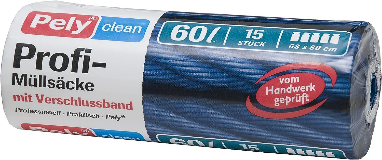 mit Verschlussband blau pely 8550 Pelyclean Profi-M/ülls/äcke 60 Liter 15-St/ück