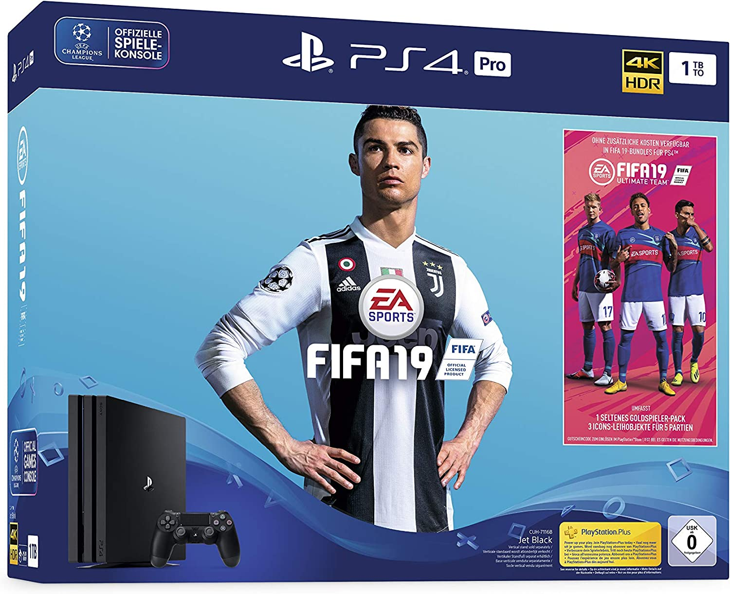 Sony PlayStation 4 Pro 1TB + FIFA 19 Negro 1000 GB Wifi - Videoconsolas (PlayStation 4 Pro, Negro, 8192 MB, GDDR5, AMD Jaguar, AMD Radeon): Amazon.es: Videojuegos