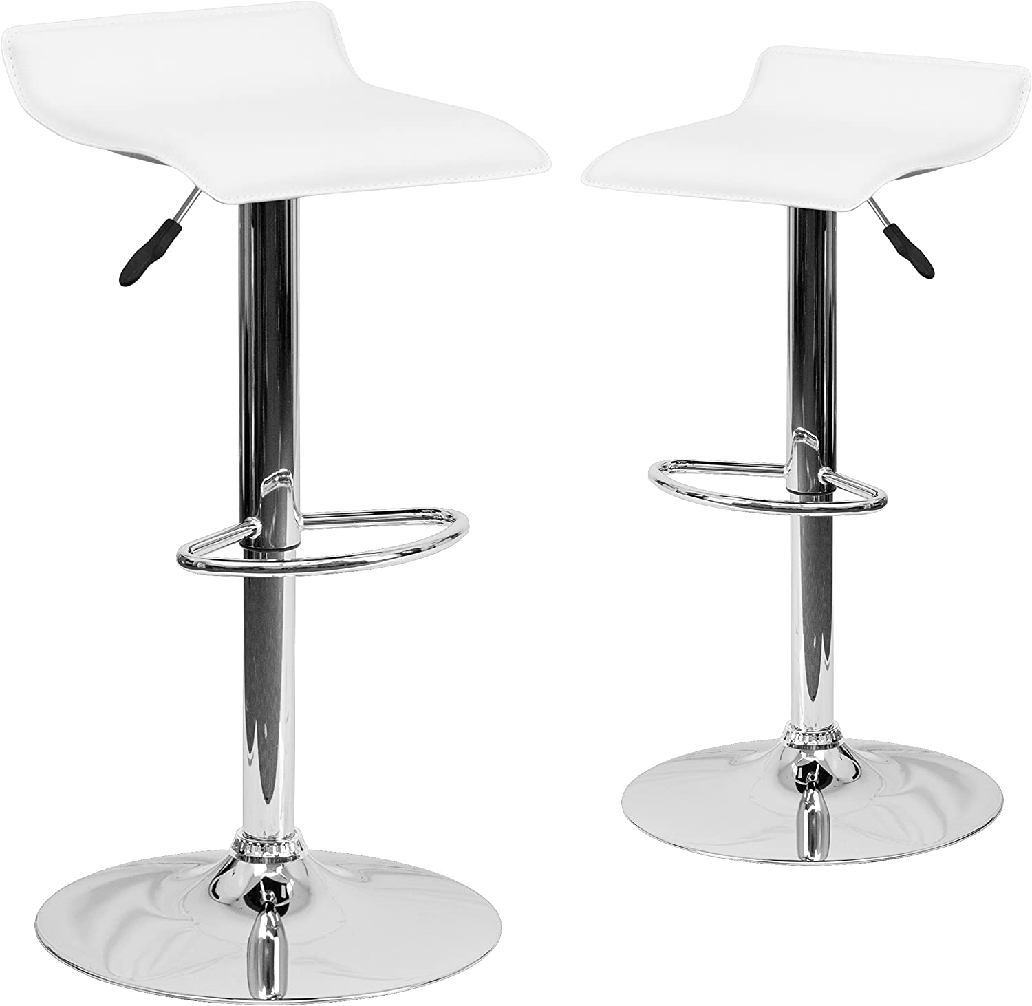Flash Furniture 2 Pk. Contemporary White Vinyl Adjustable Height Barstool with Solid Wave Seat and Chrome Base –