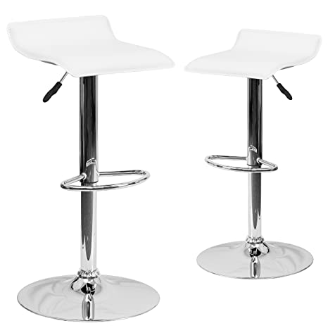 Peachy Flash Furniture 2 Pk Contemporary White Vinyl Adjustable Height Barstool With Solid Wave Seat And Chrome Base Gmtry Best Dining Table And Chair Ideas Images Gmtryco